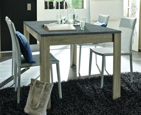 meuble cuisine en chene table de repas avec plateau en ardoise elba chene gris