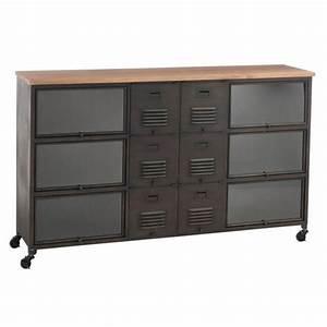 Meuble Bois Et Acier : meuble casiers en m tal de style industriel ~ Teatrodelosmanantiales.com Idées de Décoration