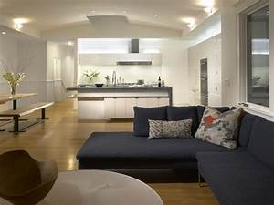 White Kitchen Connected to Family Room - Modern - Kitchen