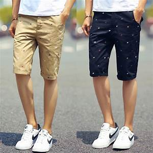 2015 New Brand Men Shorts Slim Fit High Quality Cotton Casual Print Fashion Man Short Beige ...