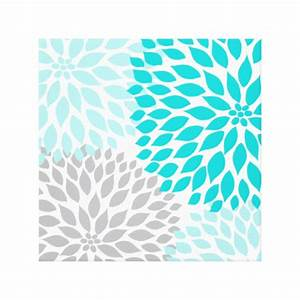 Turquoise blue and gray dahlia square wall art canvas