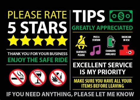 Uber Lyft Rideshare Tips And Rating Headrest Seat & Dash