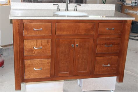 Custom Built Mission Style Vanity  Craftsman  New York. Polished Nickel Pendant. Chandiliers. Fake Fireplace Mantel. Battery Operated Tabletop Water Fountain. Farm House Kitchen. Iron Deck. Small Utility Sink. White Stove