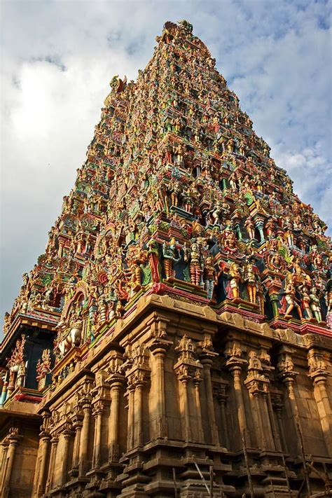 temple colors hindu temple at madura with painted hindu idols in