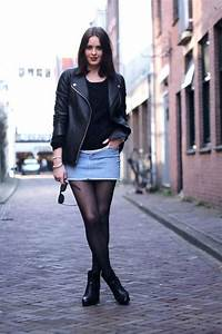 Just a Pretty Style Edgy fall look | Denim skirt tights leather jacket and leather booties