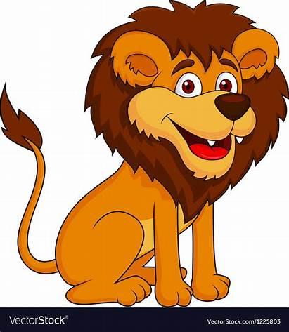 Lion Cartoon Funny Vector Sitting Illustration