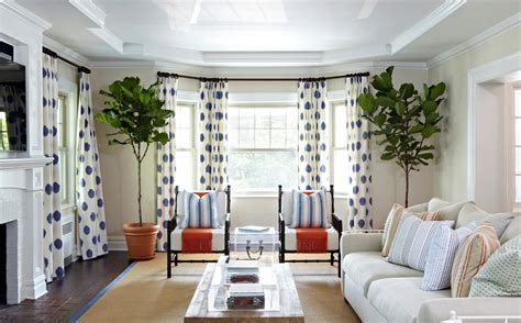 bay window curtain ideas living room with blue and