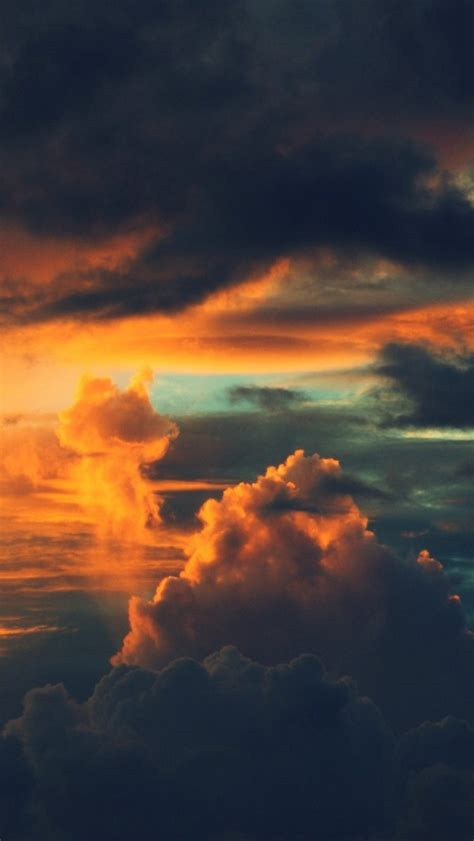 Orange Sky Wallpaper Iphone by Burning Orange Sunset Clouds Iphone 5 Wallpaper Hd Free