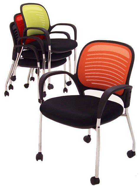 lime stackable guest meeting chair on casters