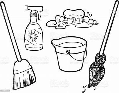 Cleaning Items Line Vector Drawing Clean Mop