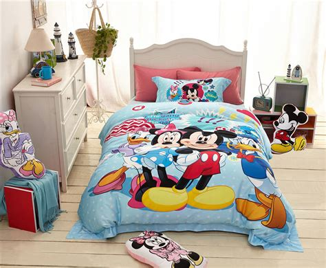 1000tc Cotton Mickey And Minnie Mouse Donald Duck Cartoon