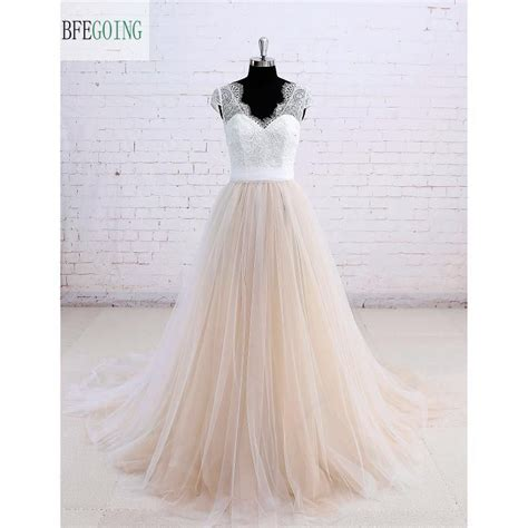 Ivory Lace Champagne Skirt A Line Wedding Dress Court