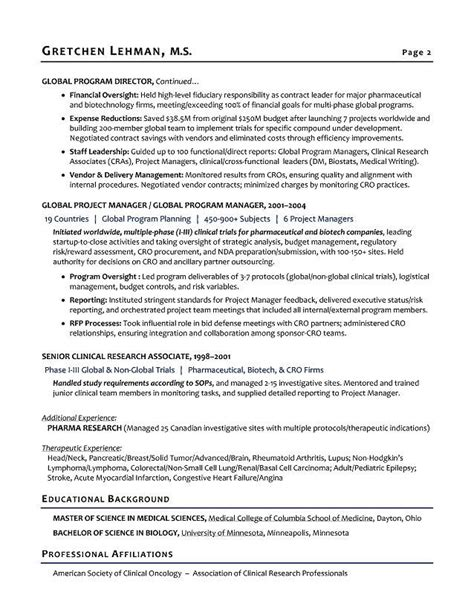 R D Resume Template by Program Manager Sle Resume Biotech Sle Resume