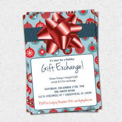 christmas holiday gift exchange party invitation blue or green