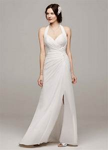 David39s bridal chiffon wedding dress with high slit and for Wedding gown preservation davids bridal
