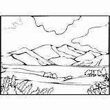 Coloring Mountain Pages Lake Landscape Scenery Range Printable Lion Desert Valley Template Mountains Drawing Scene Print Oasis Graviola Curing Cancer sketch template
