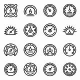 Premium Barometer Outline Icons Vector sketch template