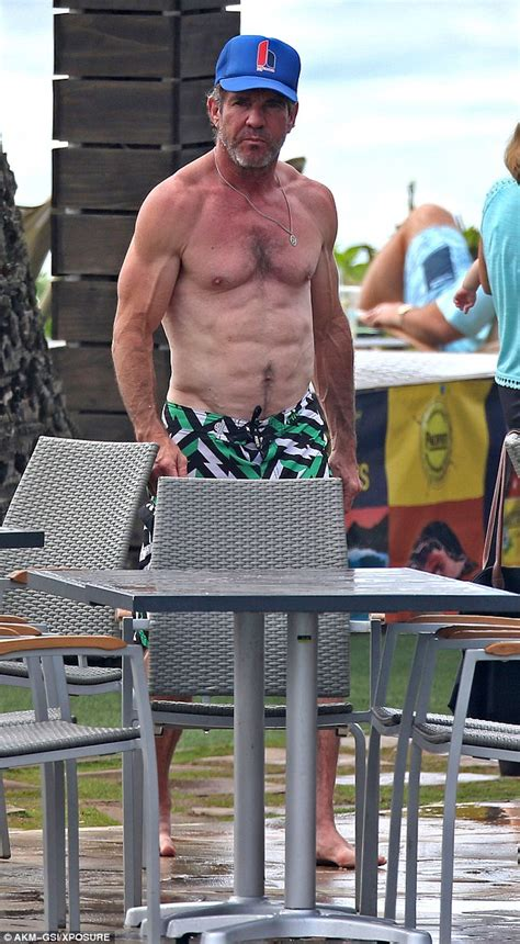 dennis quaid hawaii dennis quaid shirtless to show off abs as he holidays in