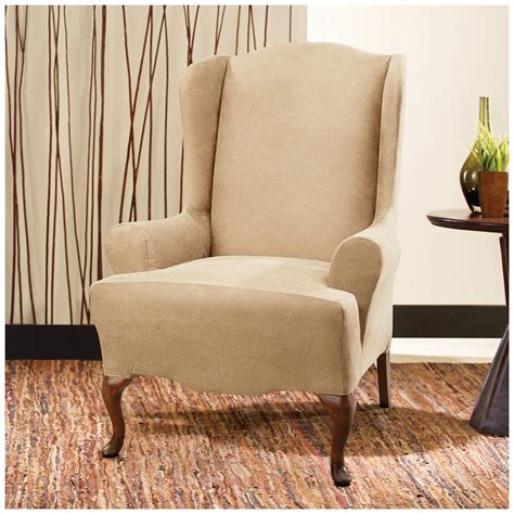 Stretch Wing Chair Recliner Slipcover by Sure Fit 174 Stretch Leather Wing Chair Slipcover 581253