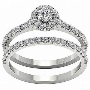 Halo engagement bridal ring band set 101 ct real diamond for Real wedding ring
