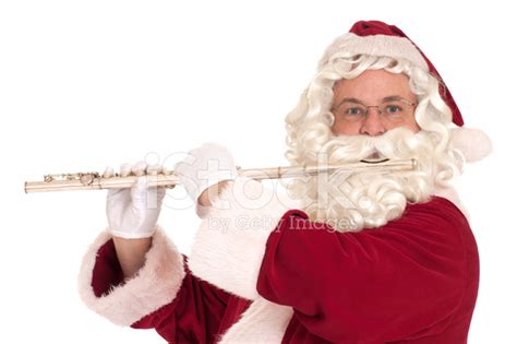Type Of Christmas Trees by Santa Claus Playing The Flute Series Stock Photos
