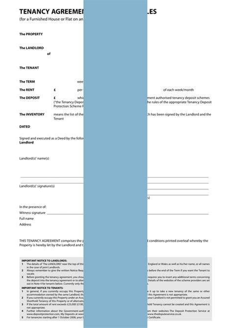 tenancy agreement furnished form template sample
