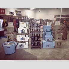 Check Out Our New Yeti Display! Lots Of Coolers, Ramblers, Bottle Openers, Belts, Decals, And