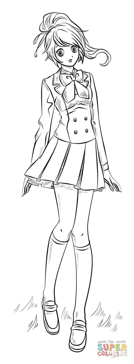 anime girl coloring page  printable coloring pages