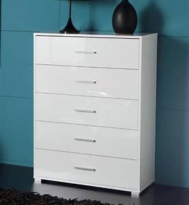 Commode Profondeur 35 Cm : commode 5 tiroirs cosmo blanc brillant ~ Teatrodelosmanantiales.com Idées de Décoration