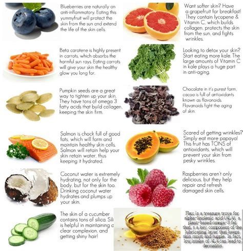 ideal cuisine healthy food choices for healthy skin visual ly