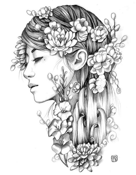 Cascade by Artist Amy Dowell Woman Floral Artwork Canvas