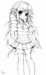 Lineart Colouring Characters Kimonos sketch template