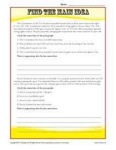 middle school main idea reading passage worksheet sixth