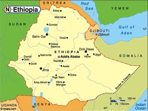 map  ethiopia  major cities google search maps