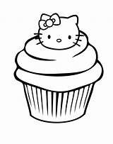 Cupcake Coloring Pages Birthday sketch template