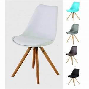 Chaise Transparente Pied Bois : chaise coque plastique pied bois table de lit ~ Teatrodelosmanantiales.com Idées de Décoration