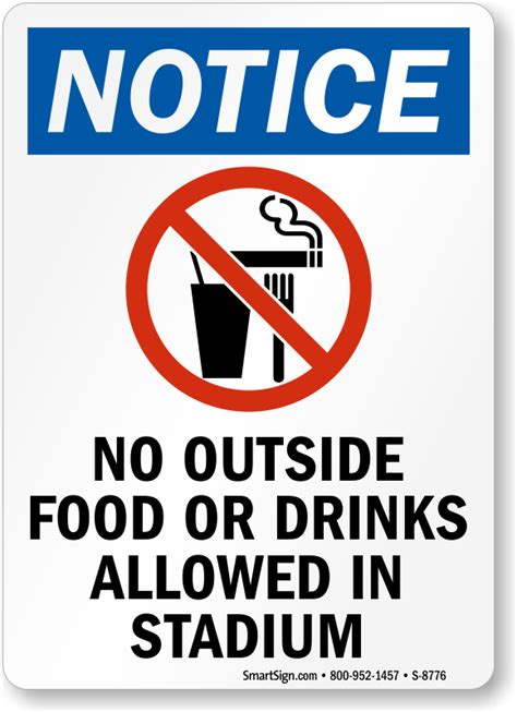 food  drinks allowed  stadium sign sku