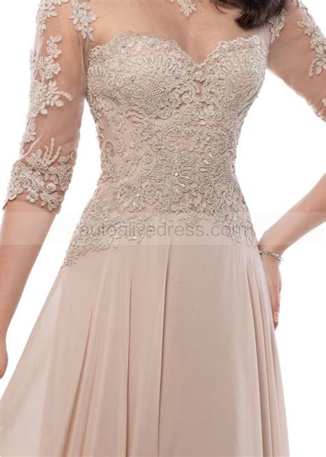 scoop neckline floor length champagne lace chiffon