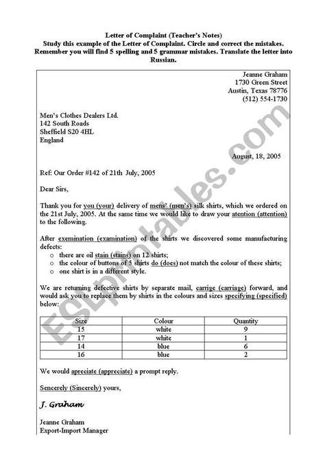 Letter of Complaint - ESL worksheet by snowdrop1981