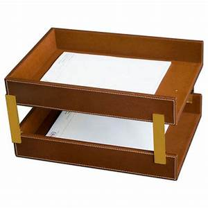 Sienna brown leather letter tray legal stacking set for Legal letter tray