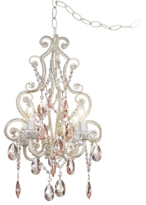 leila collection plug in swag chandelier traditional