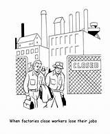 Labor Coloring Sheets Printables Factory Printable Usa Workers sketch template