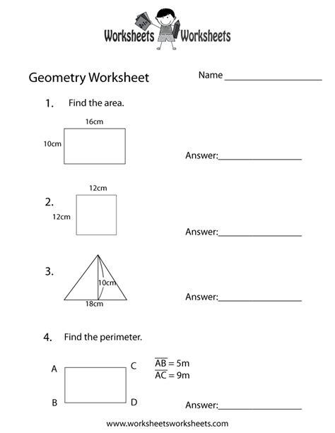 geometry review worksheet  printable educational