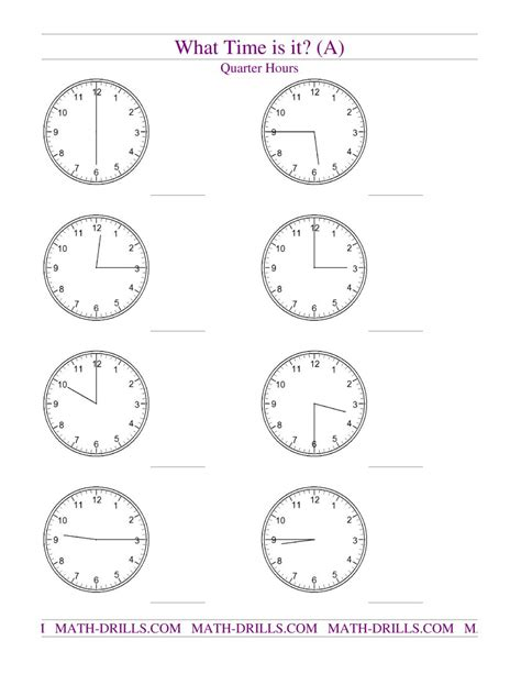 telling time on analog clocks quarter hour intervals a