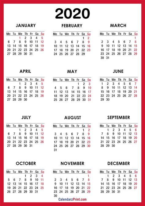calendar printable red monday start calendarzprint