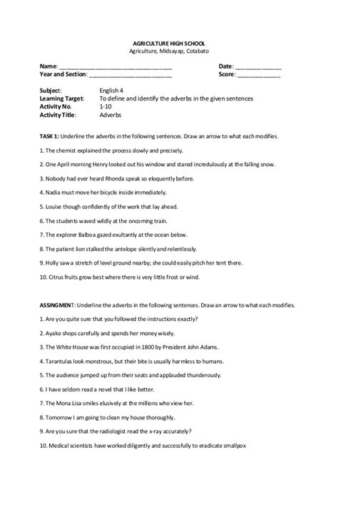 adverb worksheets high school worksheets for all