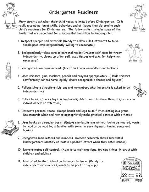 kindergarten readiness kindergarten nana 967 | traits