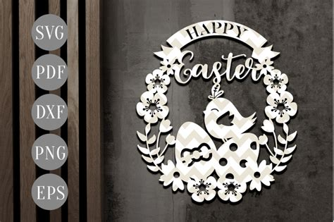 happy easter egg papercut template easter egg wreath svg dxf   personal epiphany