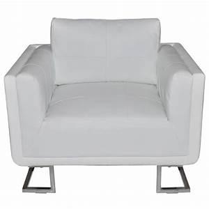 Fauteuil Cuir Blanc : acheter luxueux fauteuil cube en cuir blanc pas cher ~ Melissatoandfro.com Idées de Décoration