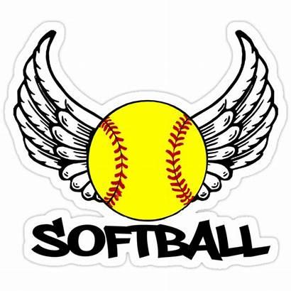 Softball Wings Shakeoutfitters Redbubble Stickers Sticker Portfolio